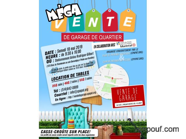 Méga vente de garage de quartier | Location de tables