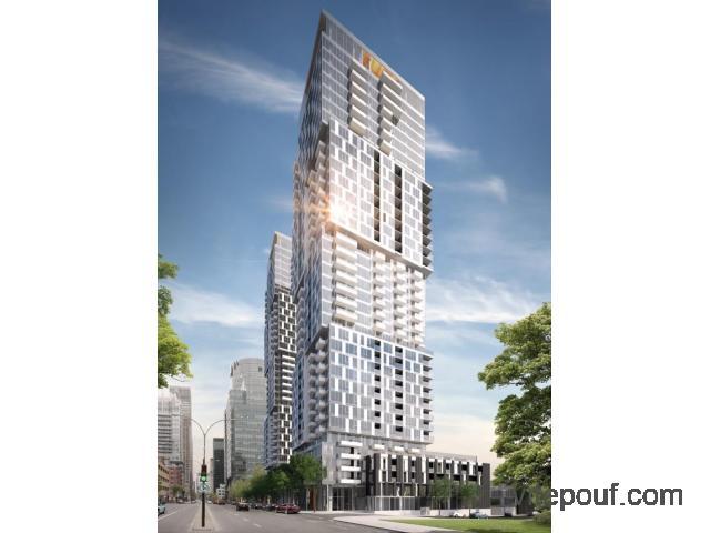 Studio de luxe, YUL 1, à louer, au 17e étage, Centre-Ville de Montréal