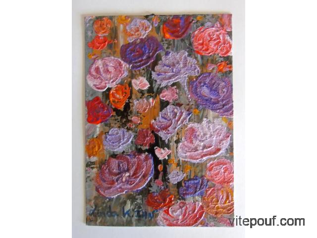 Peinture acrylique vernis sur papier dessin épais