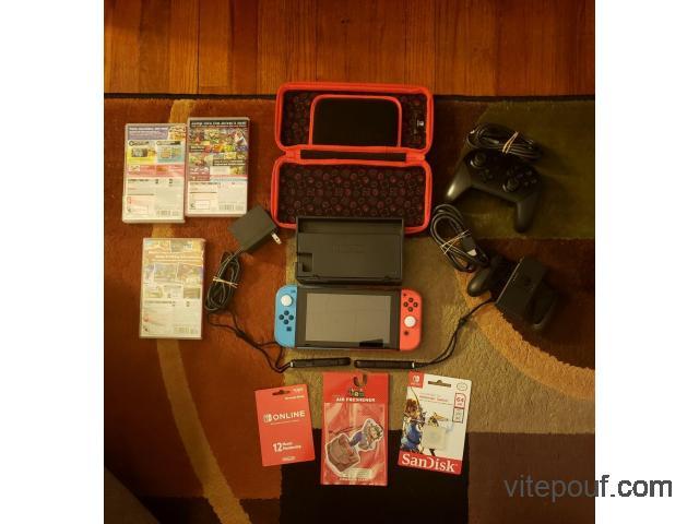 Nintendo Switch Bundle-Console, 3 jeux + nombreux accessoires super sympa