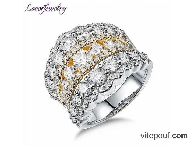 LOVERJEWELRY bague de mariage en or jaune 18 carats véritable diamants